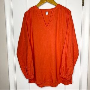 Old Navy linen blend red orange tunic shirt Small